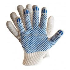 Перчатки ХБ 4 нити с ПВХ белые (10кл) *10*500