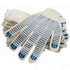 Перчатки ХБ 5 нити с ПВХ белые (10кл) *10*250